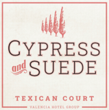 Texican Court Cypress & Suede Candle Label