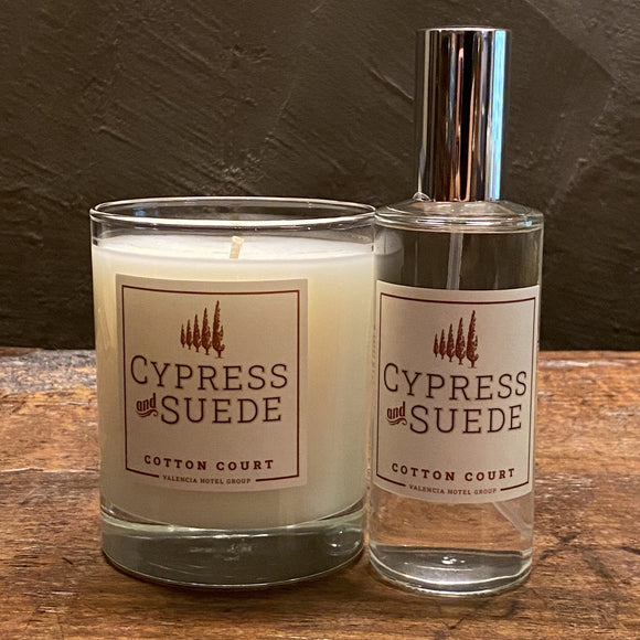 Cotton Court Cypress and Suede Candle and Spray Combo