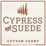 Cotton Court Cypress and Suede Candle Label
