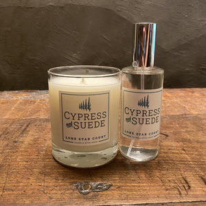 Lone Star Court Cypress and Suede Candle and Spray Combo
