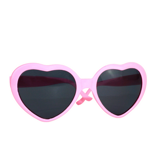 Teen/Adult Heart-Shaped Pink Sunglasses - Sparty Girl