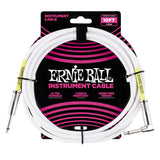 6049 Ernie Ball 10 Ft. Straight / Angle White Jacket / Green Sleeve