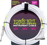 6047 Ernie Ball 20ft. Straight / Angle White Jacket / Green Sleeve