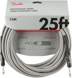 Fender Professional Series Instrument Cable, 25', White Tweed
