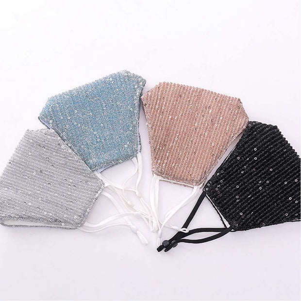 Fashion Sequin Face Mask with Filter Pocket, Shiny Fabric, Washable Reusable Mask for Women Pink fashionfacemask-uae.com