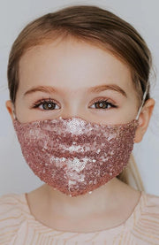 Kids Sequin Face Mask with Filter Pocket, Golden Pink fashionfacemask-uae.com