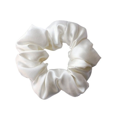 Medium Size Pure Mulberry Silk Scrunchie 22 Momme - Ivory silkdelux.com
