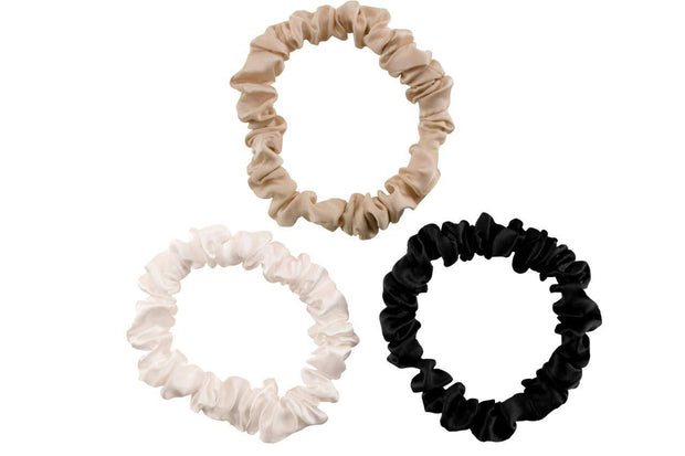 Pure Silk  Hair Scrunches, Designed to be Gentle & Avoid Hair Breakage - Skinny Beige silkdelux.com
