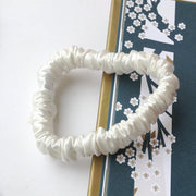Pure Silk 22 Momme Hair Scrunches, Designed to be Gentle & Avoid Hair Breakage - Skinny Ivory silkdelux.com