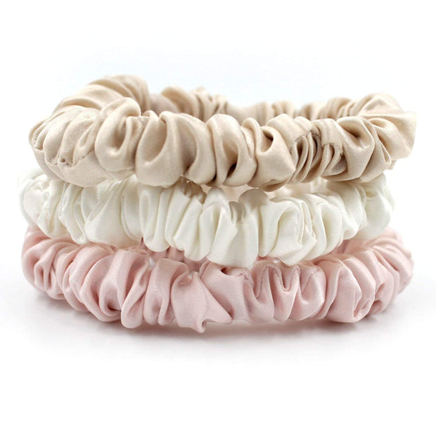 Pure Silk 22 Momme Hair Scrunches, Designed to be Gentle & Avoid Hair Breakage - Skinny Pink silkdelux.com