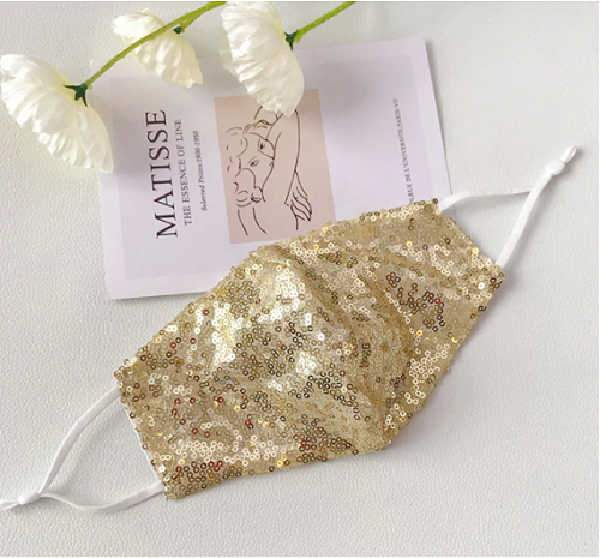 Sequin face mask with filter pocket - Golden Color fashionfacemask-uae.com