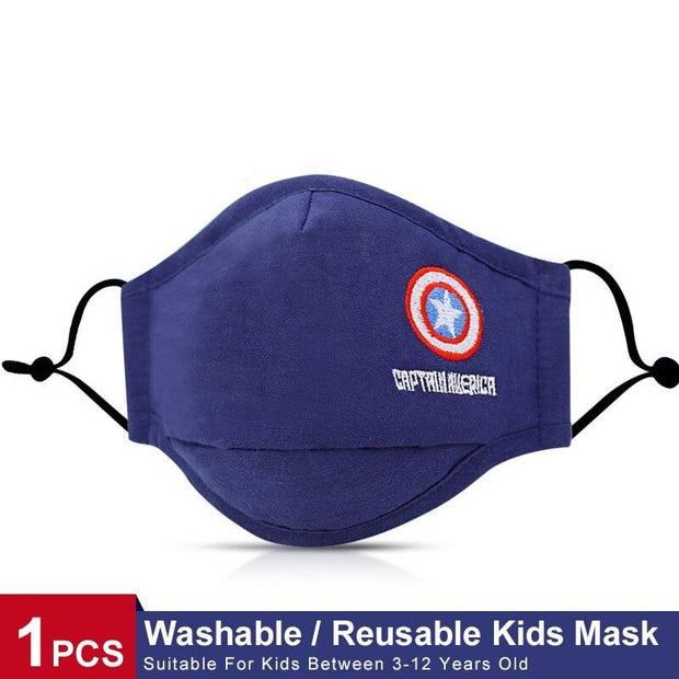 Superhero Captain America Boys Face Cover, Cotton Fabric Embroidery 3-8 Years Old fashionfacemask-uae.com