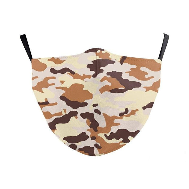 Unisex Camouflage Face Cover - Seamless Fit Plain Reusable Protective Mask PM2.5 Filter Sand Print fashionfacemask-uae.com