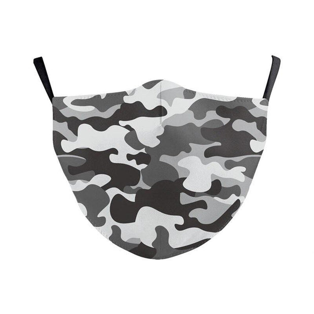 Unisex Camouflage Mask - Seamless Fit Plain Reusable Protective Mask PM2.5 Filter Grey Print fashionfacemask-uae.com