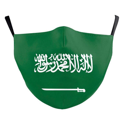 Unisex Mask with Filter- Seamless Fit Plain Reusable Protective Mask KSA Flag fashionfacemask-uae.com
