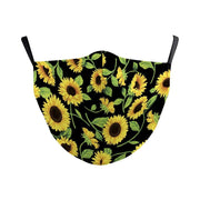 Women Black Floral Casual Face Mask with Filter Pocket Sunflower print fashionfacemask-uae.com