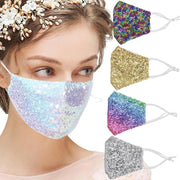 Women Sequin Face Mask with Filter Pocket, Shiny Fabric, Washable Reusable Mask for Women Rainbow fashionfacemask-uae.com
