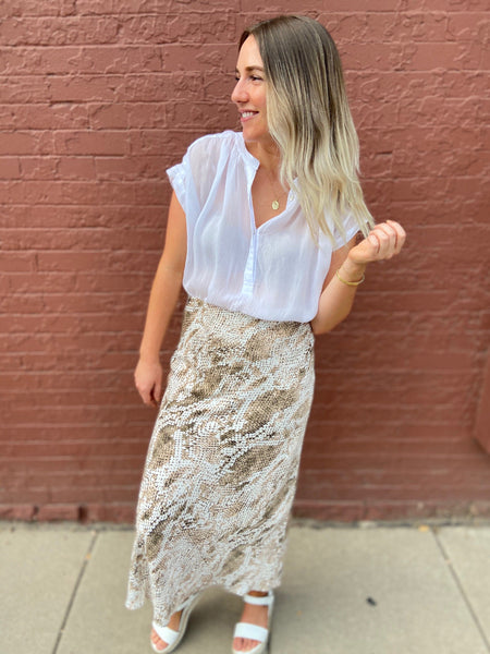 Snake Midi Skirt in Birch White