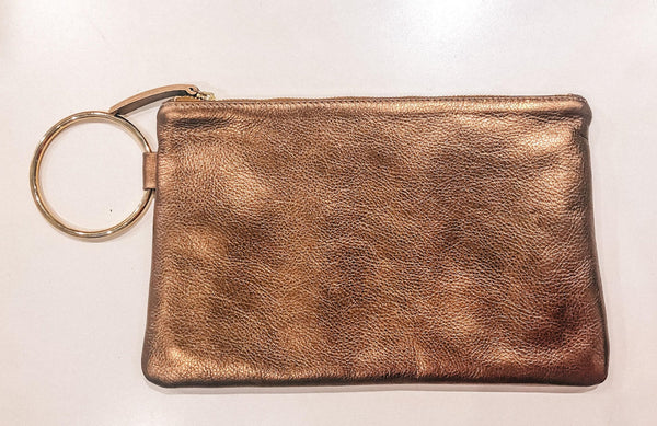 Gavi Leather Clutch in Bronze