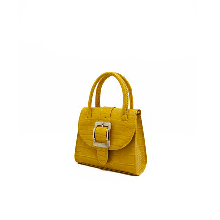 Lemon Yellow Croc Shoulder Bag