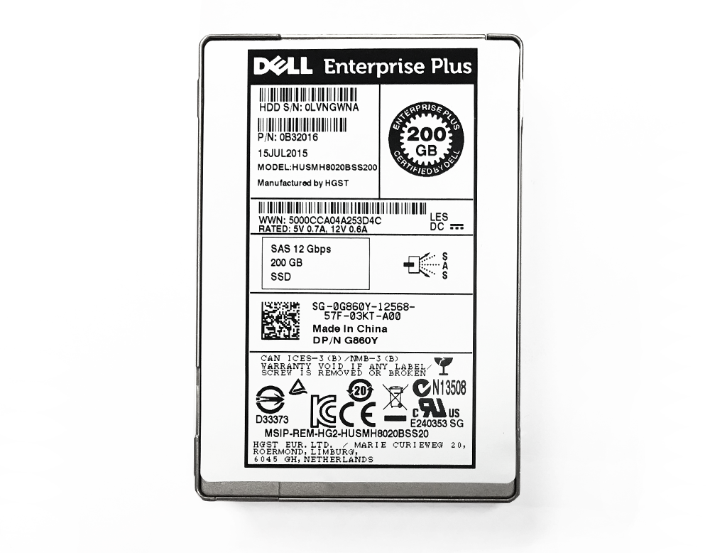 Refurbished: Dell 200GB SAS 12Gbps SSD Enterprise Plus Compellent G860Y