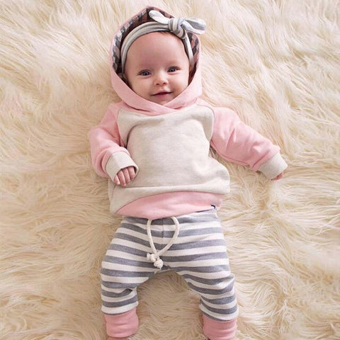 Baby baby girl clothes cotton suit newborn baby clothing baby stripes warm hooded sports casualsweatertwo-piece