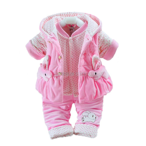 Newborn Baby Girls Plus velvet Vest+Coat+ Pants Kids Infant 3Pcs suit Winter Thicken Warm Jumpsuit Rompers Christmas Pajama