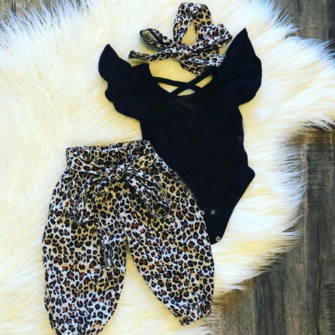 newborn infant baby girl 3 pieces set clothes ruffle short sleeve top leopard pant headband suit kids infant girl clothing sets