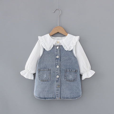 1 2 3 4 5 T Spring newborn baby girl clothes outfits sets girl kids T-shirt + denim skirt suit for infant baby girl clothing set