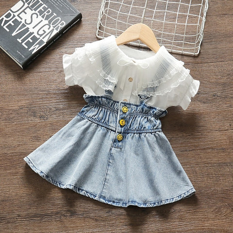 Newborn Baby Girls' clothes summer outfits sets fashion top + strap denim skirt suit for infant baby girl clothing birthday sets