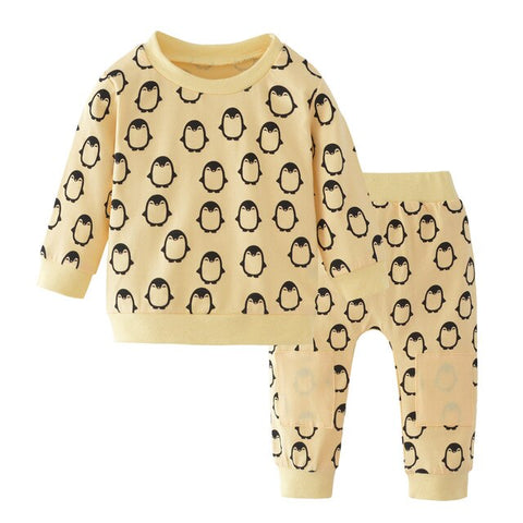Newborn Infant Baby Girl Clothes Set Long Sleeve Cartoon Penguin Tops Pants Headband Winter 3pcs Suit Outfits Clothing Cotton