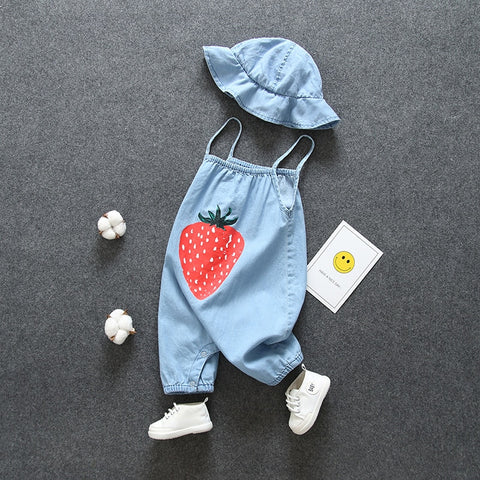 Newborn baby Girls' clothes summer outfits sets denim jumpsuit + hat suit for infant baby girls clothing birthday rompers sets