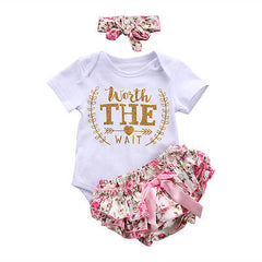 Newborn Baby Girl Cloth Jumpsuit Floral Waist Sweat Shorts Shorts Jumpsuit and Headband Suit Summer Suit Clothes 0-24M