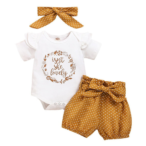 Baby Shorts Summer Set Bodysuit+Pants+Headband Toddler Girl Clothing Baby Girl Clothes Suit For Newborn 9-12Months D30