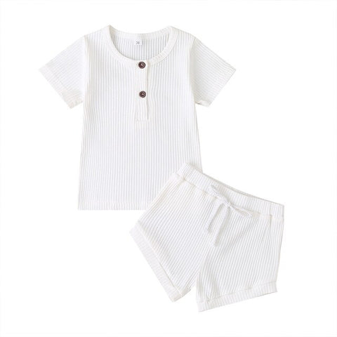 Cotton Casual Summer Newborn Baby Girls Outfits Suit Ribbed Knitted Short Sleeve T-shirts Tops+Shorts 2Pcs Kids Tracksuits