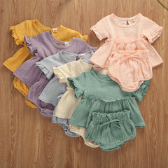 2pcs Newborn Infant Baby Girls Clothes Sets Cute Cotton Soft Solid Ruffles Short Sleeve T Shirts Tops+Shorts Outfits Suit