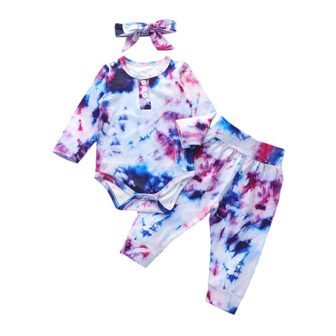 Baby Girls Clothes 2020 Autumn Baby Girls Clothing Sets Newborn Cotton Gradient Print Long Sleeve Romper+Pants Kids Suits