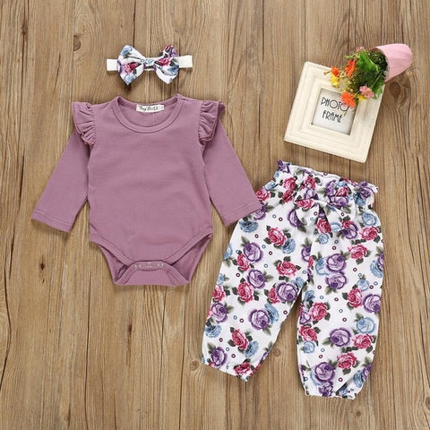 Baby girl clothes newborn baby suit cotton long-sleeved robe triangle jumpsuit printed trousers casual baby clothing 3-piece set