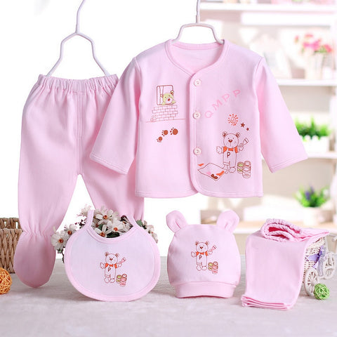 5pcs/set Newborn Infant Baby Suits Girls Kids Clothes Sets tops Pants bibs hats Girl Clothing set for baby girls outfit