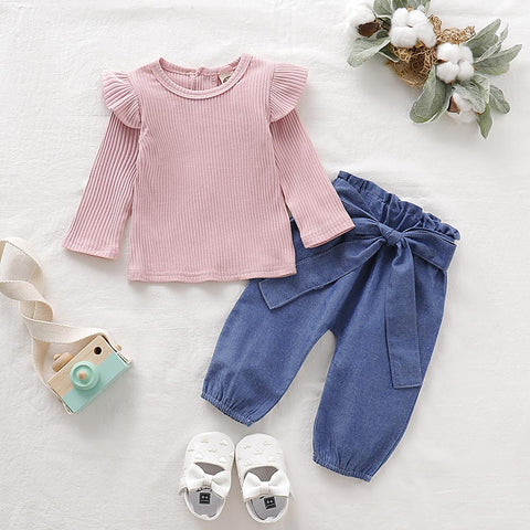 Baby girl clothes newborn baby set new pure cotton side hakama triangle one-piece suit hip romper denim trousers baby suit