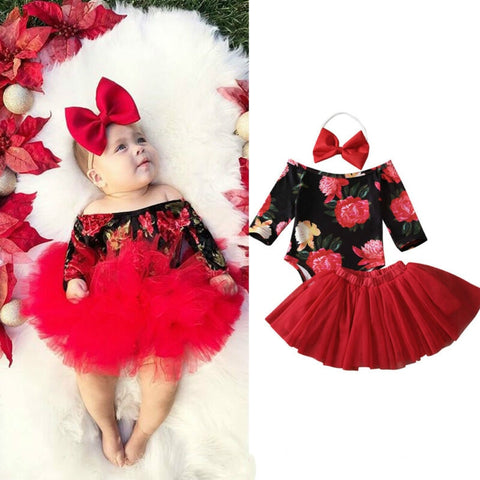 sweet infant girl dress 3Pcs off shoulder long sleeve romper + red tulle tutu skirt + headdress newborn girl suit