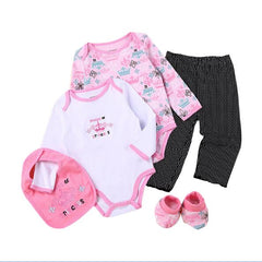 5 Pieces Baby set Newborn Baby Set Baby Girls Cotton Clothes Infant Clothing Suits Baby Bibs+bodysuits +pants+socks Suits