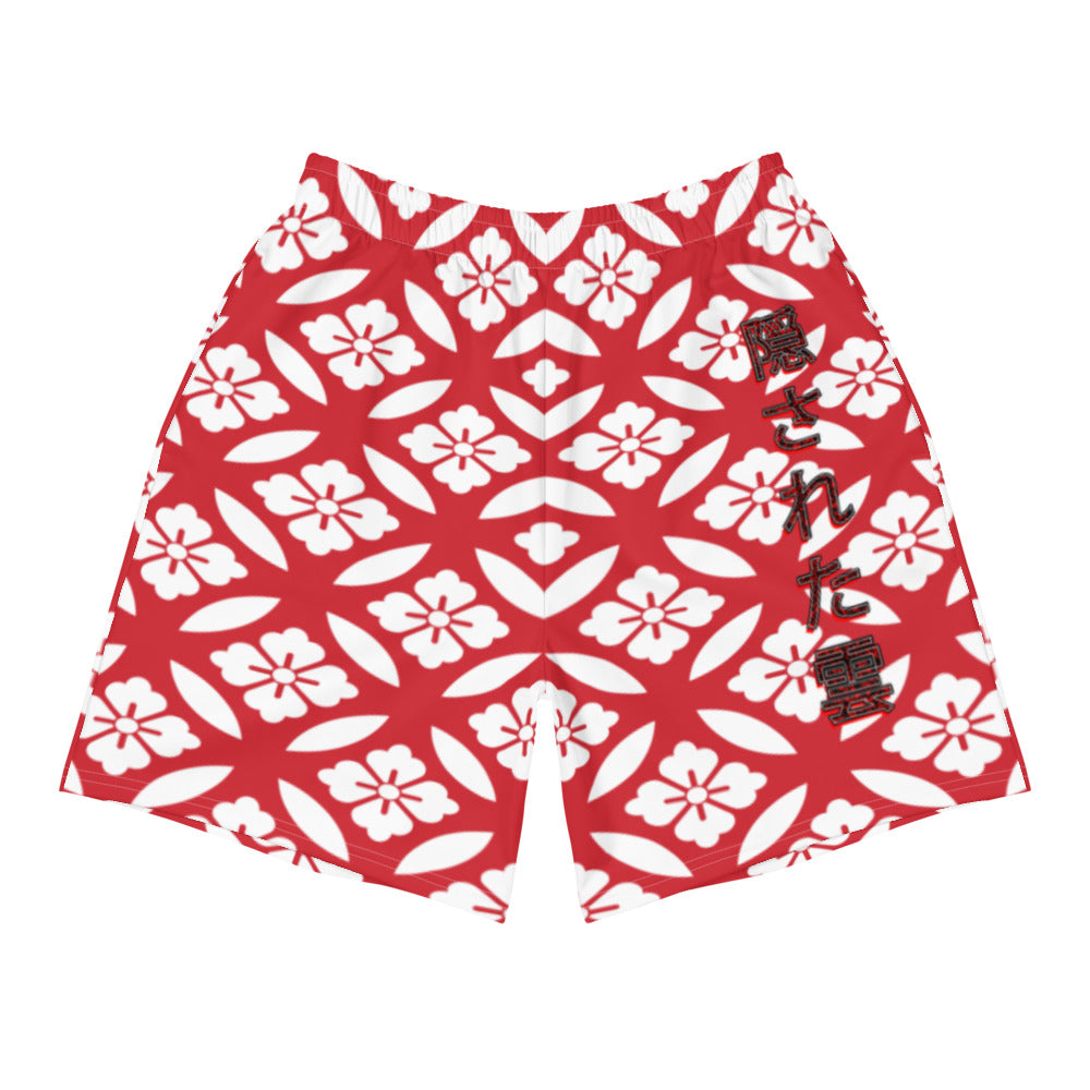 Japanese Red Flower Long Shorts