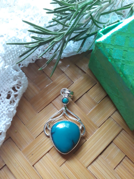 Turquoise and sterling silver pendant