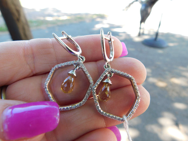 Citrine and white topaz sterling silver earrings