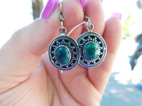 Chrysocolla sterling silver earrings