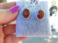Fire crab agate sterling silver earrings