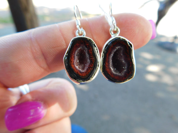 Agate Geode sterling silver earrings