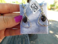 Smokey quartz and white topaz sterling silver earrings