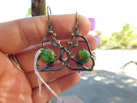 Green copper turquoise sterling silver earrings